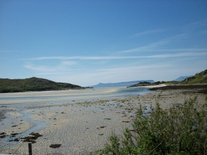 Morar beach with Small Isles in the background