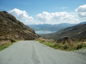 View from top of pass to Kylerhea narrows below