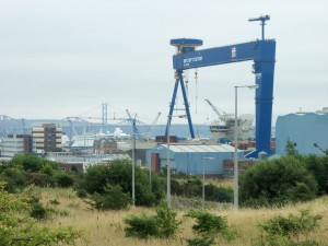 Rosyth Naval Shipyards with Forth Bridges beyond
